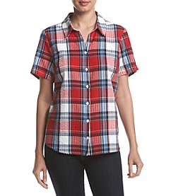 Breckenridge® Seersucker Plaid Woven Top