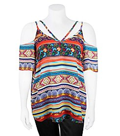 A. Byer Plus Size Stripe Cold-Shoulder Top