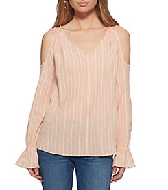Jessica Simpson Stripe Cold-Shoulder Top