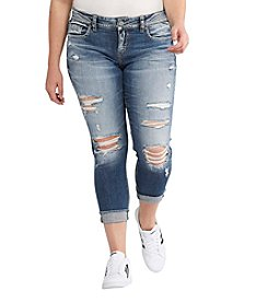 Silver Jeans Co. Plus Size Suki Destructed Crop Jeans