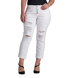 Silver Jeans Co. Plus Size Sam Destructed Boyfriend Jeans