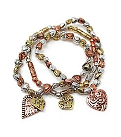 L&J Accessories Triple Row Heart Charms Stretch Bracelets