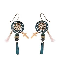 L&J Accessories Filigree Cross Drop Earrings