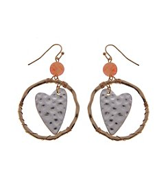 L&J Accessories Heart With Bead Drop Earrings