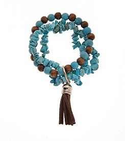 L&J Accessories Genuine Stone Triple Row Turquoise With Tassel Bracelet