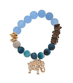 L&J Accessories Genuine Stone Turquoise Wood Chip Elephant Charm Stretch Bracelet