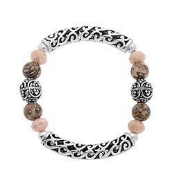 L&J Accessories Genuine Stone Filigree Bead Stretch Bracelet