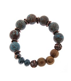 L&J Accessories Genuine Stone And Wood Beads Stretch Bracelet