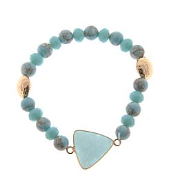 L&J Accessories Genuine Stone Turquoise With Triangle Front Stretch Bracelet