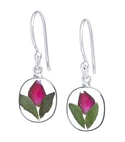 Athra Dried Rose Oval Drop Earrings