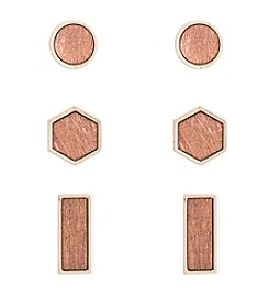 Robert Rose Trio Round, Hexagon, Rectangular Earrings Set