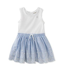 Calvin Klein Jeans Baby Girls' Ribbed Bodice with Eyelet Embroidered Skirt Dress