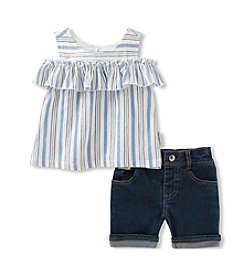 Calvin Klein Jeans Baby Girls' 2-Piece Gauze Top Short Set