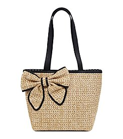 GAL Straw Tote With Bow Accent