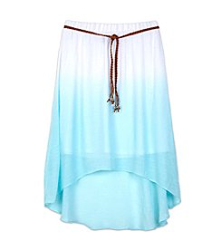 Amy Byer Girls' 7-16 Hi Low Dip Dye Gauze Skirt