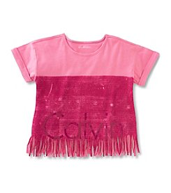 Calvin Klein Jeans Girls' 2T-6X New Icon Logo Fringe Tee