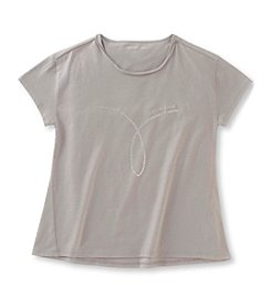 Calvin Klein Jeans Girls' 7-16 Studded Omega Trapeze Tee