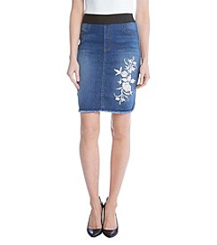 Karen Kane® Embroidered Denim Skirt