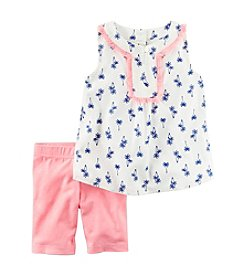 Carter's® Girls' 2T-8 Palm Tree Tank With Jersey Shorts Set