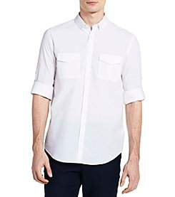 Calvin Klein Men's Long Sleeve Roll Up Fine Sleeve Shirt