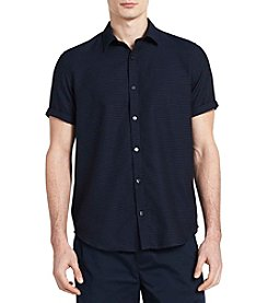 Calvin Klein Men's Short Sleeve Dobby Striped Button Down Shirt