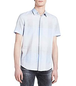 Calvin Klein Short Sleeve Covered Placket Button Down Shirt