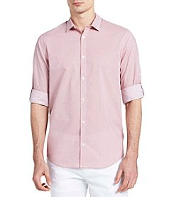 Calvin Klein Long Sleeve Roll-Up Voile Button Down Shirt