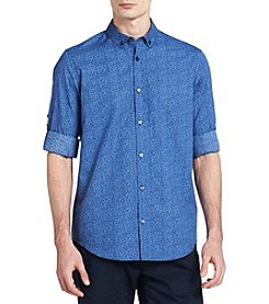 Calvin Klein Roll-Up Voile Floral Button Down Shirt