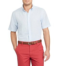 Chaps® Linen Cotton Button Down Short Sleeve Sport Shirt