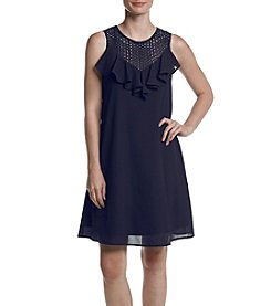 Gabby Skye® Eyelet Yoke Ruffled Front Dress