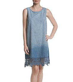 Luxology Striped Lace Hem Dress
