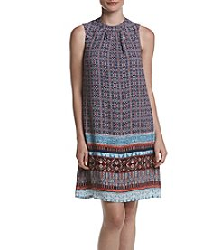 DR2 by Daniel Rainn Printed Mock Neck A-Line Dress
