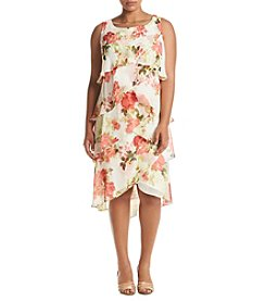 S.L. Fashions Plus Size Floral Print Tiered Dress
