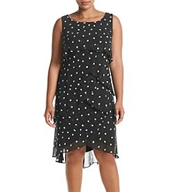 S.L. Fashions Plus Size Tier Dot Dress