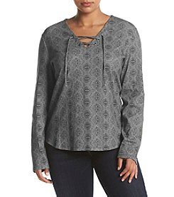 Ruff Hewn Plus Size Printed Lace Up Top