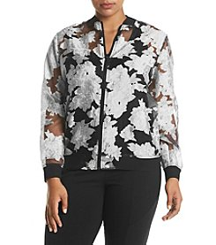Ruff Hewn GREY Plus Size Organza Lace Bomber Jacket