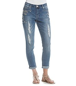 One 5 One® Embroidered Rollcuff Denim Jeans