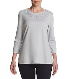 Studio Works® Petites' Embroidered Knit Top