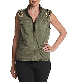 Ruff Hewn Petites Military Embroidered Vest