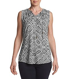 Ruff Hewn Petite Sleeveless Print Split Neck Top