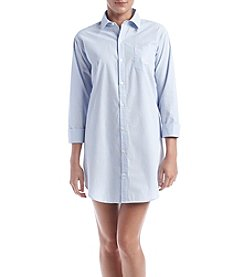 Lauren Ralph Lauren® 3/4 Sleeve Blue Striped Sleepshirt