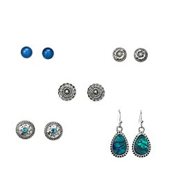 Studio Works® Teal And Silvertone Five Pair Earring Set