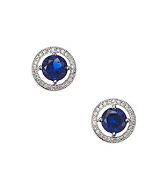 BT-Jeweled Cubic Zirconia Stud Earrings