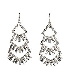 BT-Jeweled Three Layer Drop Earrings