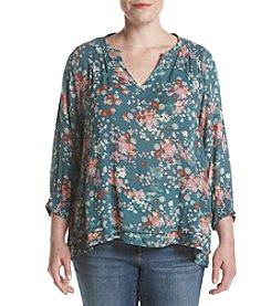 Democracy Plus Size Smock Neck Printed Top