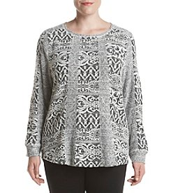 Ruff Hewn Plus Size Jacquard Patchwork Top