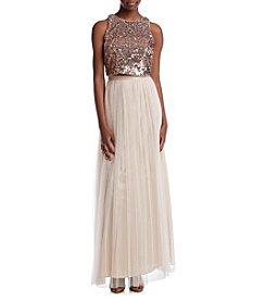 Adrianna Papell® Sequin Top Tulle Dress