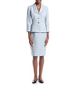 LeSuit® Cross Dye Skirt Suit Set