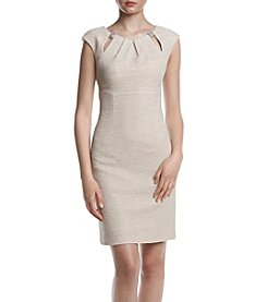 Eliza J® Pleated Neckline Textured Dress