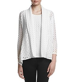 Kasper® Circle Lace Knit Cardigan